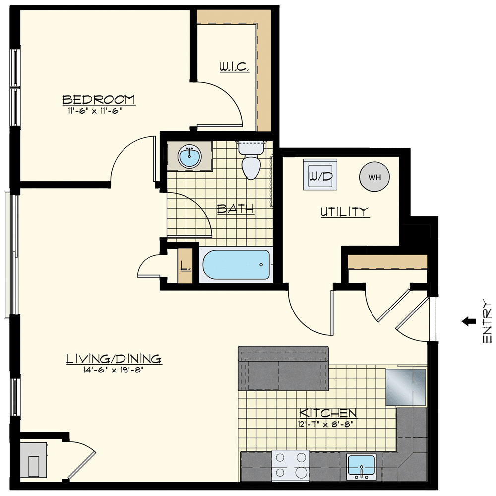 Patriot Station at Chalfont One Bedroom Floor Plans
