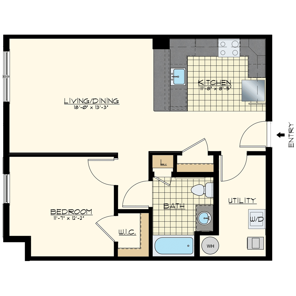 Patriot at Chalfont One Bedroom Floor Plan Unit Dominion