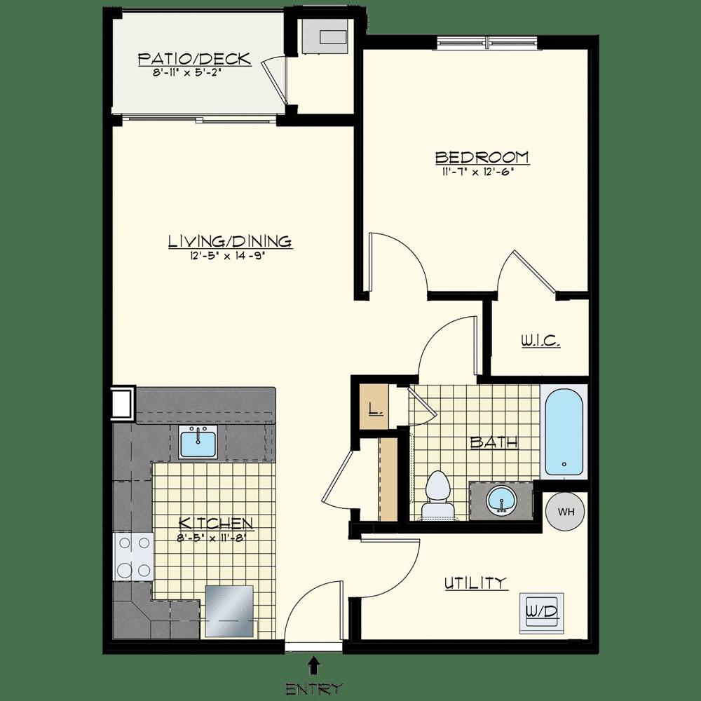 Patriot at Chalfont One Bedroom Floor Plan Unit Hudson