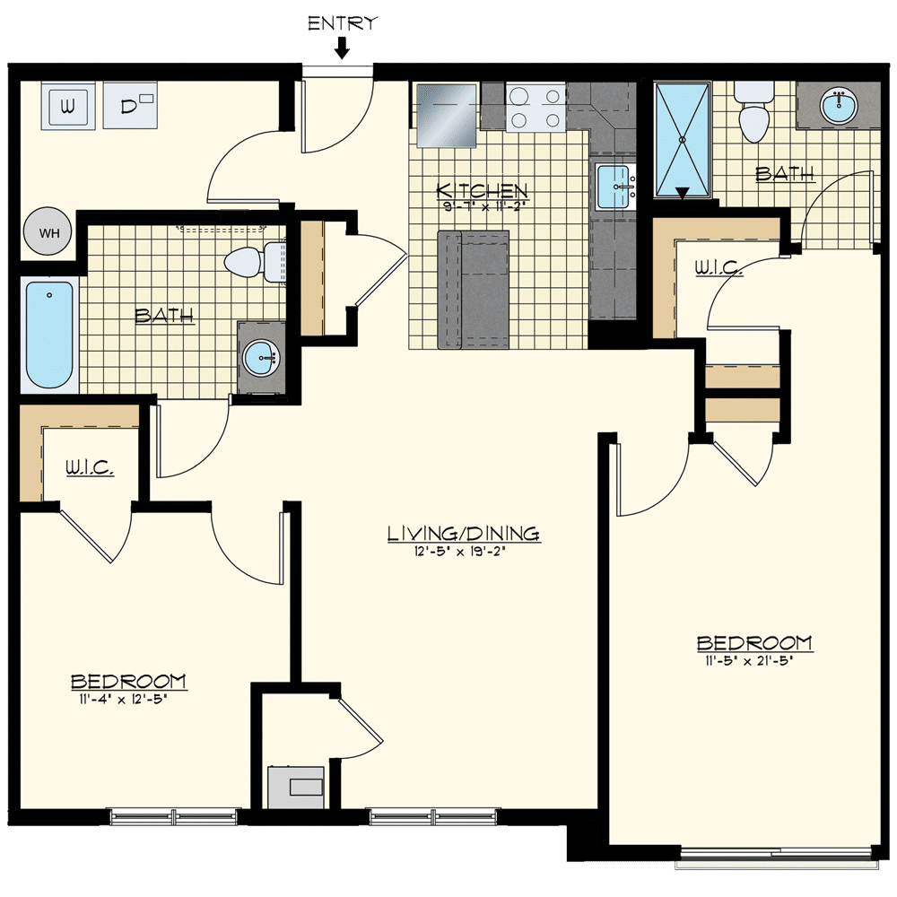 Patriot at Chalfont One Bedroom Floor Plan Unit Mayflower