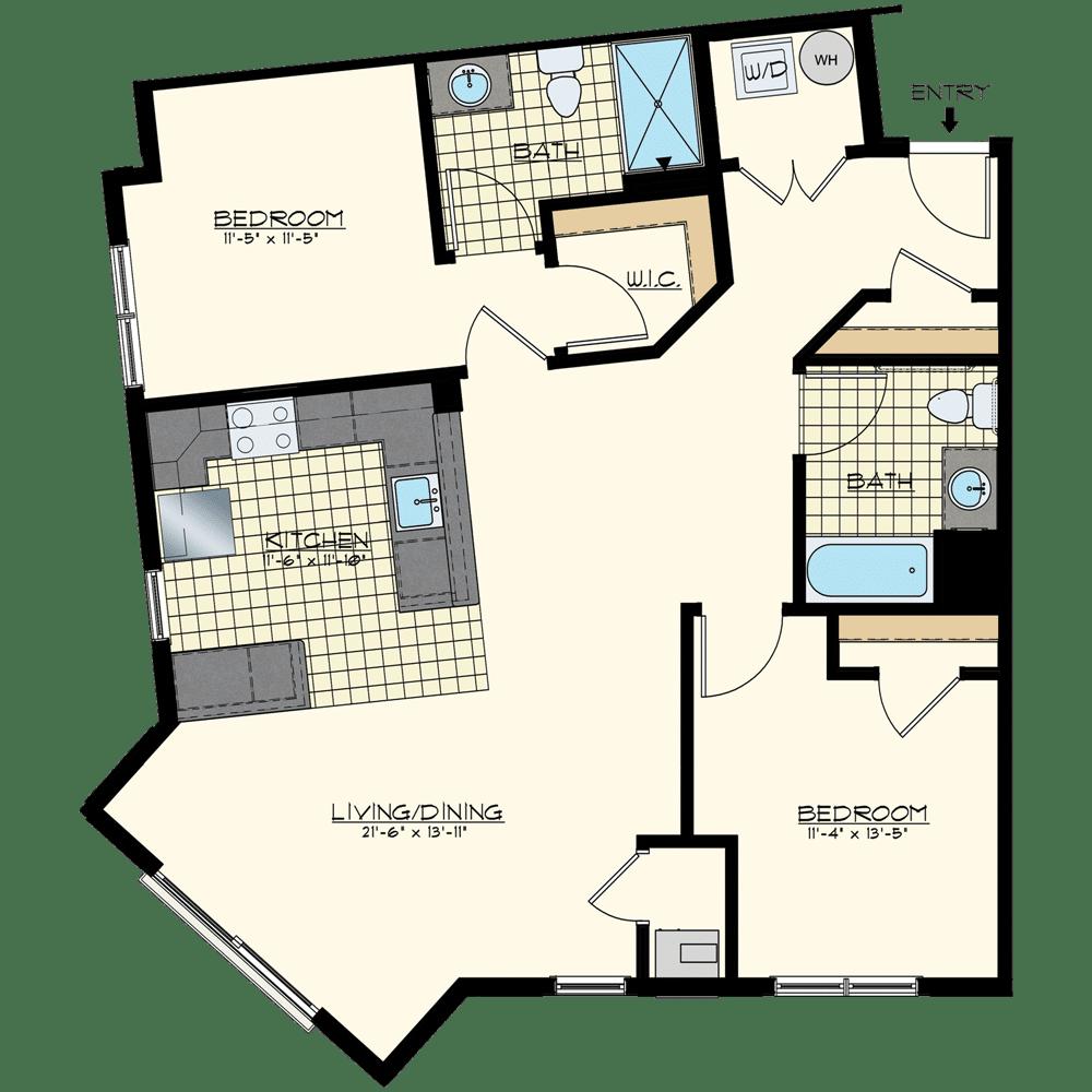 Patriot at Chalfont One Bedroom Floor Plan Unit Mercury