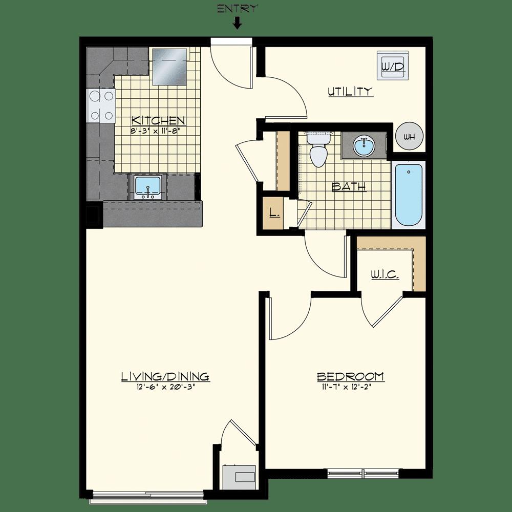 Patriot at Chalfont One Bedroom Floor Plan Unit Mohawk