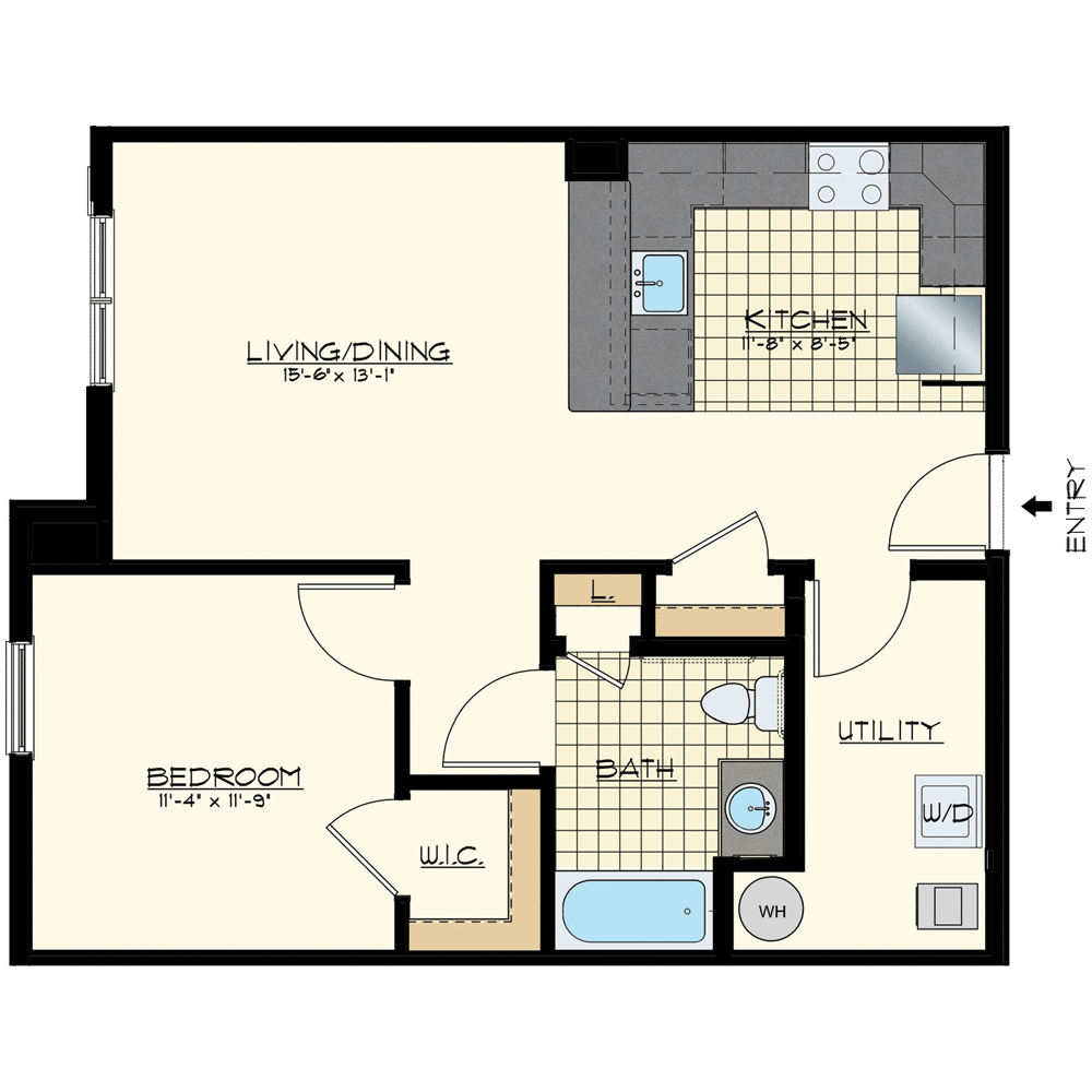 Patriot at Chalfont One Bedroom Floor Plan Unit Pacific