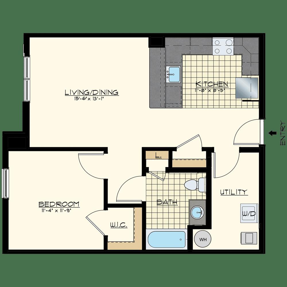 Patriot at Chalfont One Bedroom Floor Plan Unit Pacific