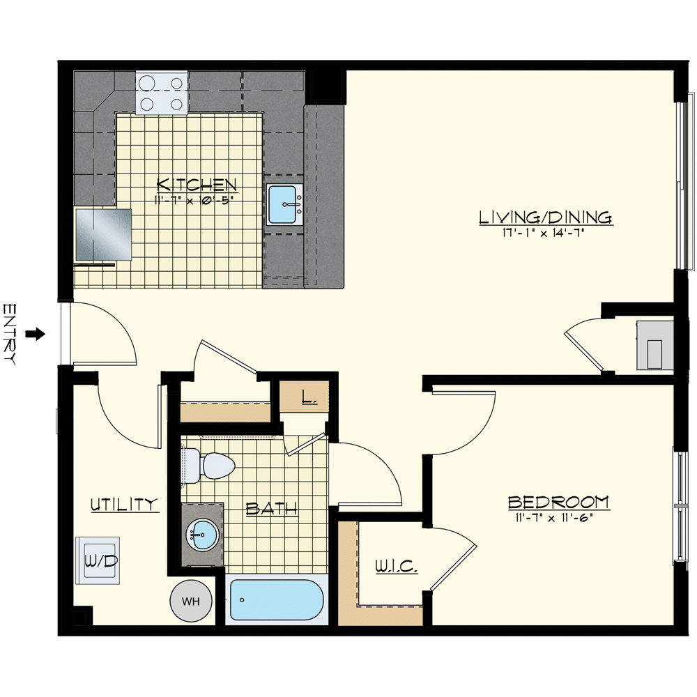 Patriot at Chalfont One Bedroom Floor Plan Unit Saratoga