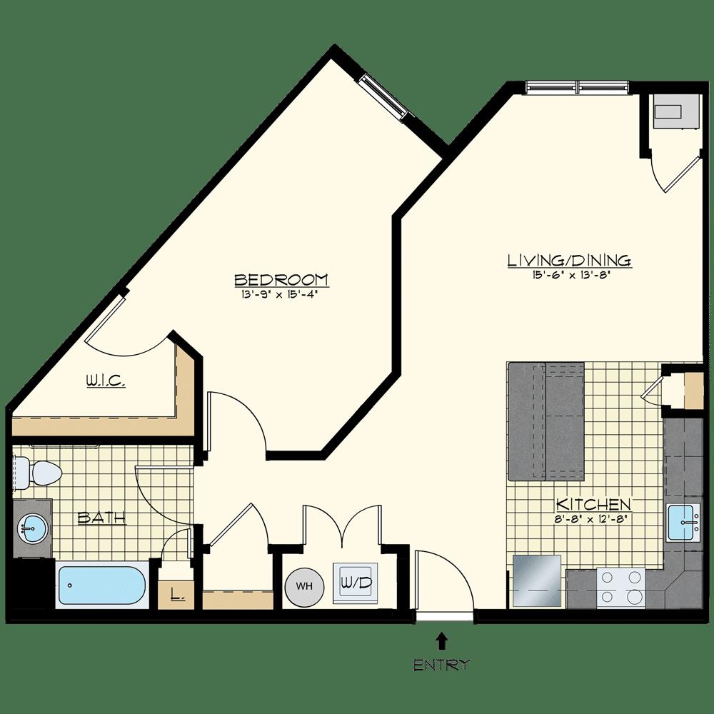 Patriot at Chalfont One Bedroom Floor Plan Unit stockton